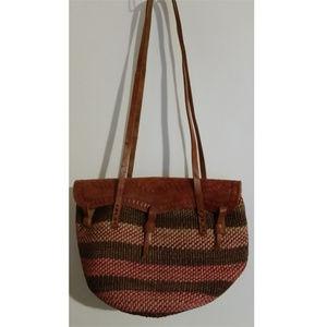 Handmade leather handtooled woven shoulder bag